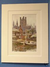 CHESTER CATHEDRAL FROM THE CANAL VINTAGE DOUBLE MOUNTED HASLEHUST PRINT 10X8 OLD