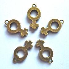 5 x Venere Femminile Simbolo Ciondolo 20mm x 11mm colore bronzo
