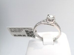 WOW 3/4CTTW REAL Diamond Solitare HALO Engagement Ring $5500! SI- 14K WHITE GOLD