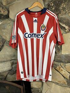 Adidas CD Chivas USA Large MLS Soccer Comex Red Striped Jersey Futbol