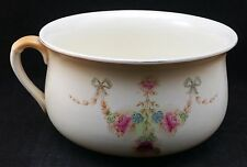 Victorian Unmarked Earthenware Floral Transfer Printed Chamber Pot, 22.5cm Wide