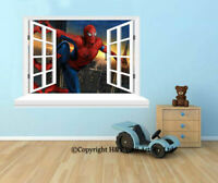 Spider Man 3D Window Wall Stickers Art Mural Wall Decal Kids Boys Nursery Decor