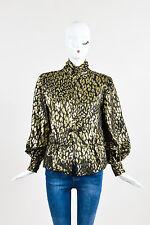 VINTAGE Pauline Trigere Gold Metallic/Black Leopard Pattern Peplum Blouse
