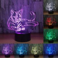 Plein de Couleurs Chat 3D Illusion Lumière LED de Nuit Lampe Acrylique