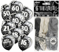 """6 Black Glitz 12"""" Latex Balloons - Choose From 11 Designs - Party Helium Fill"""