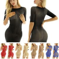 Women Half Sleeves Bodycon Dress See Through Mesh Mini Skirt Evening Clubwear
