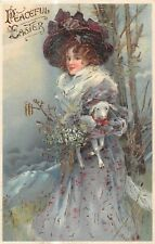 POSTCARD  GLAMOUR - GIRL IN A MAUVE COAT - PEACEFUL EASTER