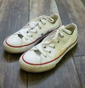 Kids Converse Chuck Taylor All Star Youth Size 13, White Canvas Low Top Shoes