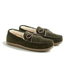 J.Crew Men's 11 - NWT$59 Olive Green Corduroy Sherpa Lined Moccasin Slippers