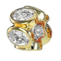 MATERIA Gold Beads Zirkonia Anhänger weiß Rondelle 925 Silber für Beads Armband