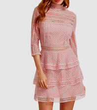 AU seller - Pink crochet high neck 3/4 sleeve cocktail party tiered mini dress