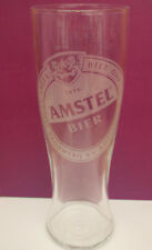Amstel Dutch beer etched pint brimful glass