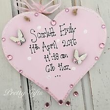 Personalised Baby Girl Boy Sparkly Keepsake Gift Heart Plaque Handmade