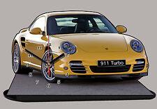 VEHICULE DE SPORT PORSCHE 911 TURBO-02 EN HORLOGE MINIATURE SUR SOCLE