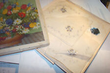 vintage UNUSED lot of 3 WOMEN'S HANKIES w BOX EMBROIDER ORLANA KERCHIEFS SWISS