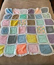 "Vintage Granny Squares Crochet Afghan Throw Blanket Handmade 55"" x 56"""