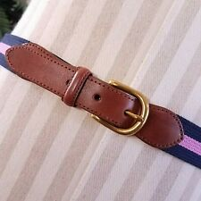 Brooks Brothers Cotton Belt Brass Buckle Pink Blue 36