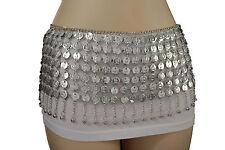 Women Ethnic Style Fashion Hip Belt Silver Metal Coin Charm Long Skirt Dance S M