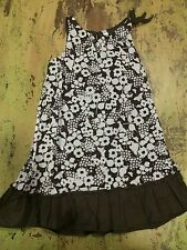 Girls 5T Cherokee Brown White Floral Sun Dress Lined Euc