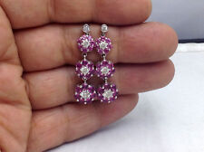 5.10Ct Genuine Natural Diamond And Pink Topaz Earring In Solid 14K White Gold