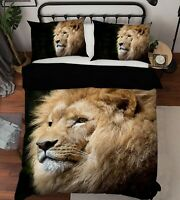 3D Brown Lion P283 Animal Bed Pillowcases Quilt Duvet Cover Set Queen Kay