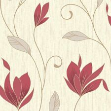 Vymura Synergy Glitter Floral Wallpaper Rich Red, Cream, Gold (M0781)
