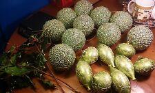 Lot of 20 Light Green Christmas Ornaments Painted Glass & Jumbo Sequin Glitter