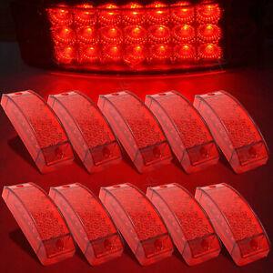 10x 21 LED Side Marker Clearance Light Rectangle 12V Truck Trailer Camper Red