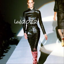 Gucci Tom Ford Runway 1999 Leather Ruched Laser-Cut Skirt 40