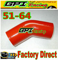 """Silicone 45 Degree Reducer Elbow 2.5""""-2"""" 64mm-51mm Intercooler Turbo Hose red"""