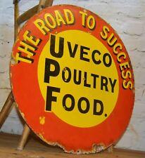 Uveco Poultry Food enamel sign original advertising mancave garage metal old vin