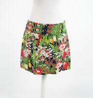 Navy blue green pink floral print cotton blend TORY BURCH mini skirt 10