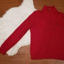 Polo Ralph Lauren Men Knit Red Sweater Quarter Zip Large