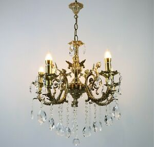 CAST BRASS CHANDELIER, Antique Brass Chandelier, Chandelier with 5 Arms, Angel,