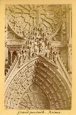France, Reims, Cathédrale Notre-Dame, Grand Portail  Vintage albumin print