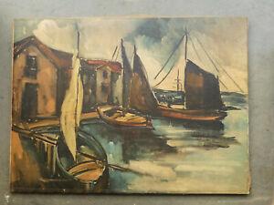 GRANDE PEINTURE, MARINE HUILE sur TOILE, Voiliers au port, époque vers 1940-1950