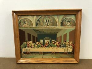 Vintage PAINT BY NUMBER PAINTING Last Supper wall art pbn jesus christ framed 50