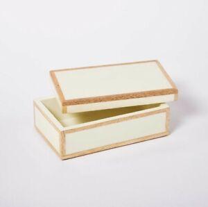 NEW Small Studio McGee Decorative Wood Inlay Resin Ivory Box Threshold Target