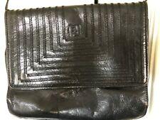 Vintage FENDI ROMA Black Leather Logo Flap Clutch Shoulder Bag Crossbody