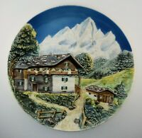 Vintage Majolica Western Germany Decorative Wall Plate Cabin House Mountain View