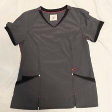 New listing Srubstar Active Sz Large Scrub Top Gray W Pink Black Stretchy Front Pockets Work