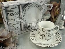 2 Cup 2 saucer Espresso Design Coffee cup gift set Bridemaids Wedding Party Gift