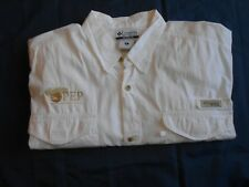 Columbia PFG Men SS Button Front Fishing Shirt 100% Cotton Vented X-Large White