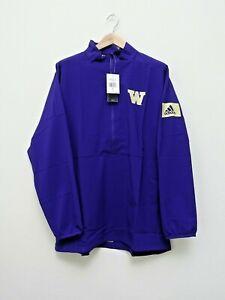 NEW adidas Washington Huskies Pullover Mens L Purple 1/4 Zip Game Mode $80