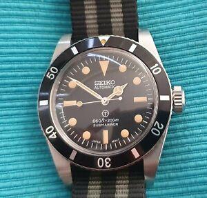 Seiko Submariner Vintage Homage Big Crown Bond Style divers watch