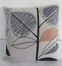 Retro Grey/Black/Pale Orange Linen Look Cushion Cover 45cm