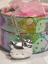 925 Sterling Silver Hello Kitty Locket Pendant Necklace Hello Kitty Gift Box 072