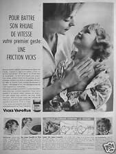 PUBLICITÉ 1959 FRICTION VICKS VAPORUB POUR BATTRE SON RHUME DE VITESSE
