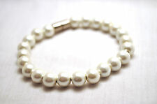 LADIES 7.5 IN CLASSIC WHITE PEARL HEALING MAGNETIC THERAPY HEMATITE BRACELET