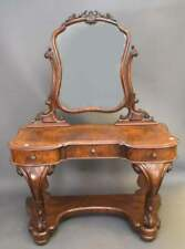 English Ladies Vanity Burr  Walnut  Wood Heavily Carved with Mirror